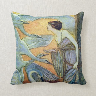 The Six Swans Eleanore Abbott Fine Art Throw Pillow