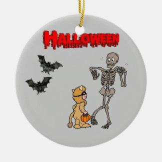 The skeleton is afraid of Halloween - Ceramic Ornament