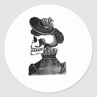 The Skeleton Lady. Circa early 1900s Mexico Classic Round Sticker