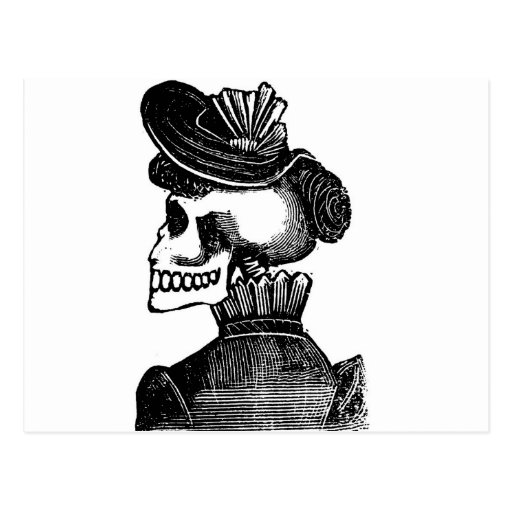 The Skeleton Lady. Circa early 1900s Mexico Post Card
