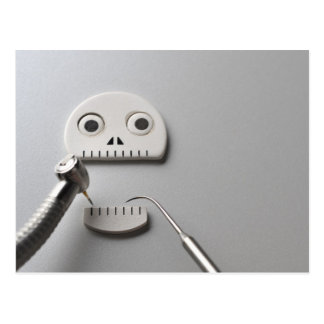 The skeleton which dental treatment is taken postcard