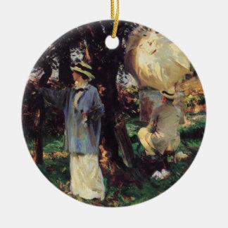 The Sketchers by Sargent, Vintage Victorian Art Ceramic Ornament