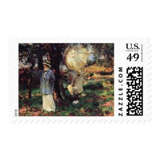The Sketchers by Sargent Vintage Victorian Art Postage Stamps