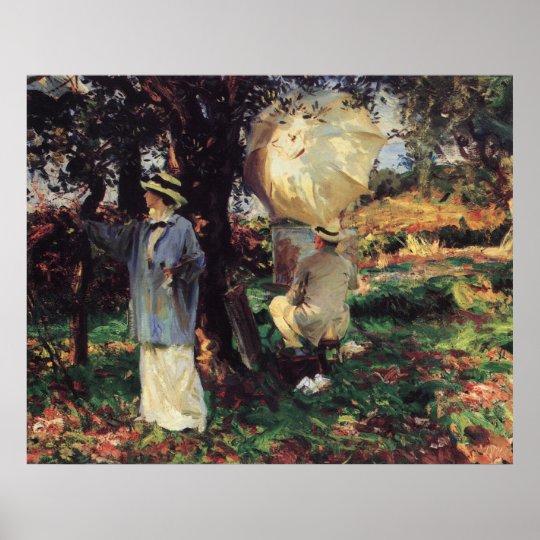 The Sketchers by Sargent, Vintage Victorian Art Poster