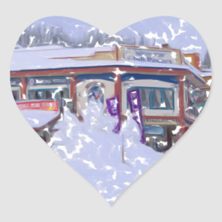 The Ski Lodge2 Heart Sticker