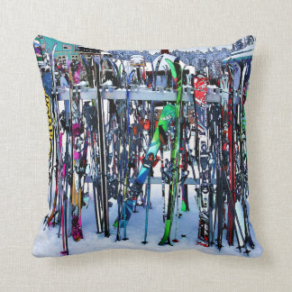 The Ski Party - Skis and Poles Throw Pillow