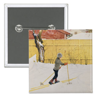 The Skier, c.1909 2 Inch Square Button