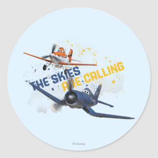 The Skies are Calling Classic Round Sticker