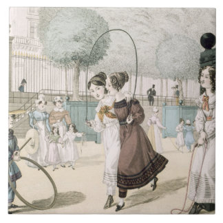 The Skipping Game, plate 115 from 'Le Bon Genre', Ceramic Tile