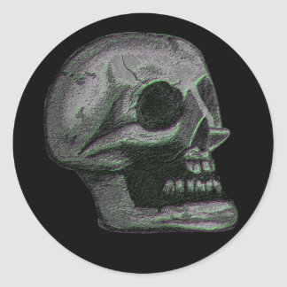 "the ""Skull"" Black & White Lite Green Classic Round Sticker"