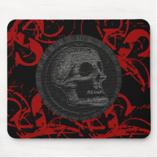 the Skull! (Circle Design 1) Style 3 Red on Black Mouse Pad