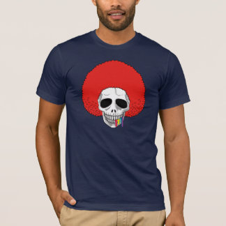 The Skull Smiley Afro Red Rainbow A T-Shirt