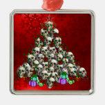 The Skulls of Christmas Square Metal Christmas Ornament