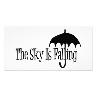 The Sky Is Falling Umbrella Black & White Card