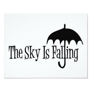 The Sky Is Falling Umbrella Black & White Invitation