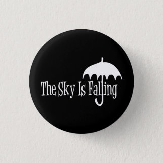 The Sky Is Falling Umbrella Black & White Pinback Button