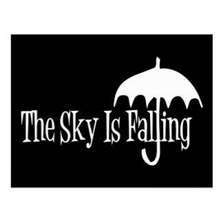 The Sky Is Falling Umbrella Black & White Postcard