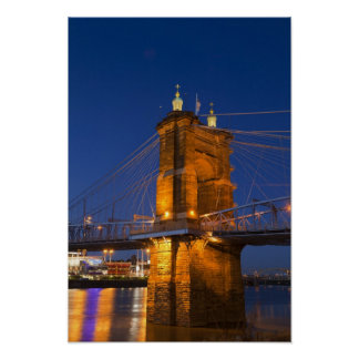 The skyline of Cincinnati, Ohio, USA at dusk Poster