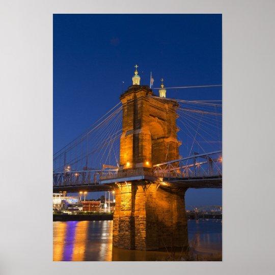 The skyline of Cincinnati, Ohio, USA at dusk Poster