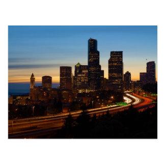 The skyline of Seattle Washington at dusk Postcard