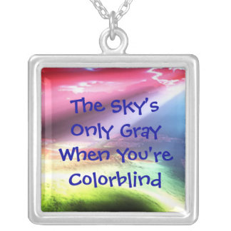 The Sky's Only Gray Square Pendant Necklace