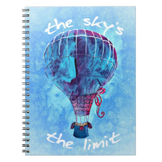 The Sky's the Limit Watercolor Hot Air Balloon Notebook