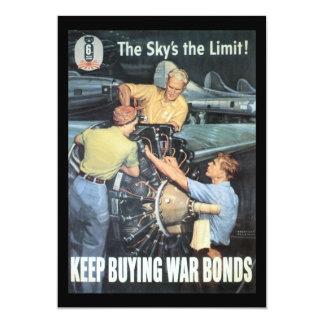 "The Sky's The Limit World War II 5"" X 7"" Invitation Card"