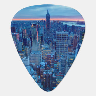 The skyscrapers of Manhattan are lit Guitar Pick