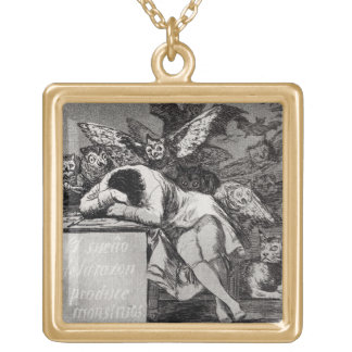 The Sleep of Reason Produces Monsters Gold Plated Necklace