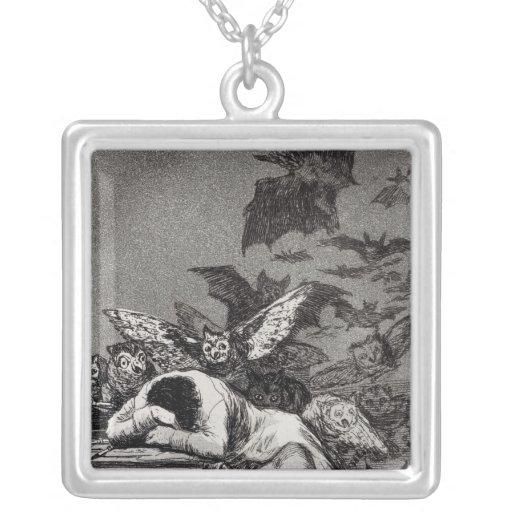 The Sleep of Reason Produces Monsters Square Pendant Necklace