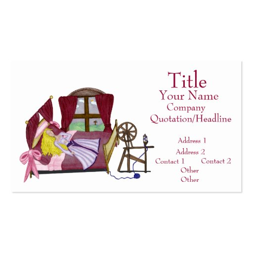 The sleeping beauty double sided standard business cards for Beauty business card templates