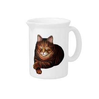 The Sleeping Brown Tabby Cat Pitcher