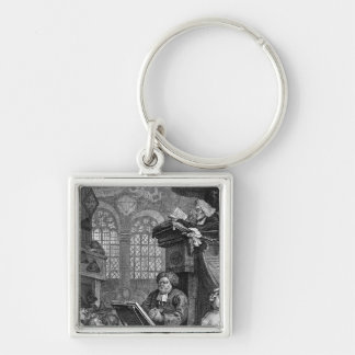 The Sleeping Congregation, 1736 Silver-Colored Square Keychain