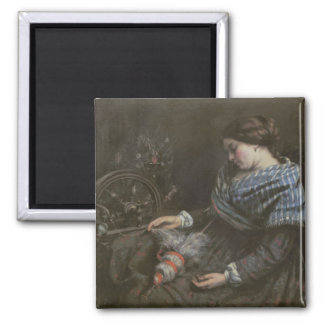 The Sleeping Embroiderer, 1853 2 Inch Square Magnet