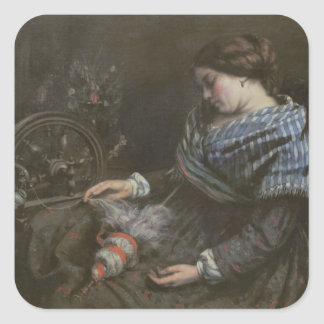 The Sleeping Embroiderer, 1853 Square Sticker