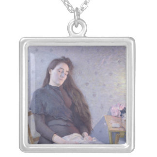 The Sleeping Flower Girl, 1892 Silver Plated Necklace