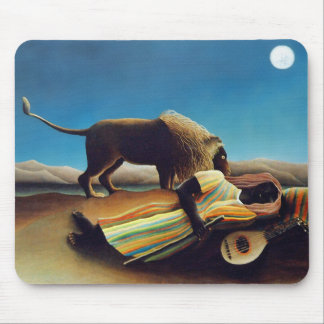 """""""The Sleeping Gypsy"""" by Henri Rousseau Mouse Pad"""