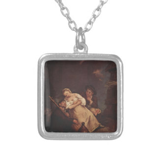The sleeping woman by Pietro Longhi Personalized Necklace