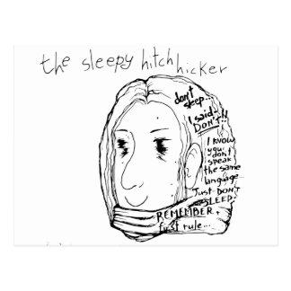 The Sleepy Hitchhiker Postcard