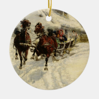 The Sleigh Ride, 1896 (oil on canvas) Ceramic Ornament
