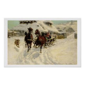The Sleigh Ride, 1896 (oil on canvas) Poster