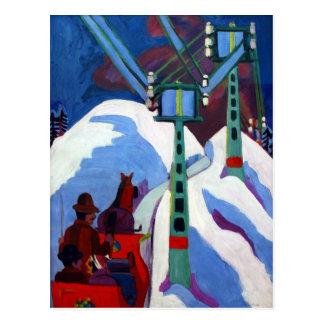 The Sleigh Ride by Ernst Ludwig Kirchner Postcard