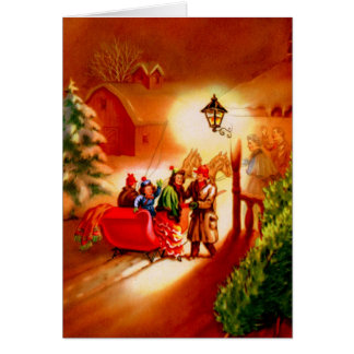 The Sleigh Ride - Vintage Christmas Card