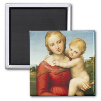 The Small Cowper Madonna, c.1505 (oil on panel) 2 Inch Square Magnet