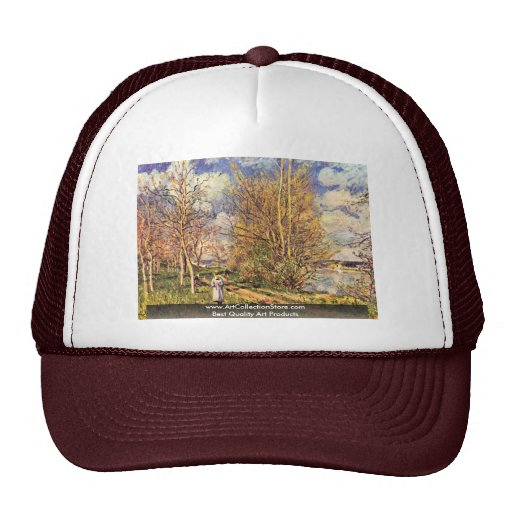 The Small Meadows In Spring,  By Alfred Sisley Mesh Hats
