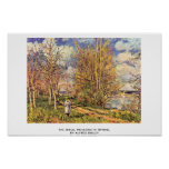 The Small Meadows In Spring,  By Alfred Sisley Posters