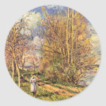 The Small Meadows In Spring,  By Alfred Sisley Round Sticker