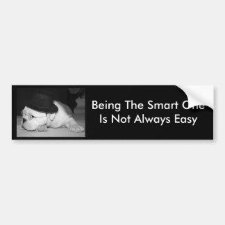 """""""The Smart One""""...English Bulldog Puppy Bumper Sticker"""