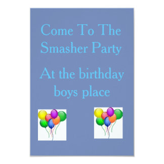 The Smasher Party Invatation Card