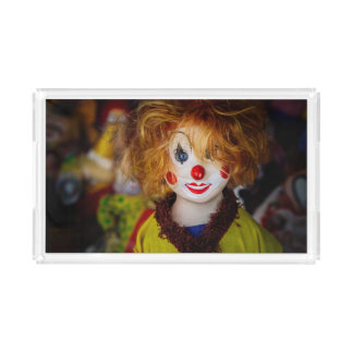 The smile on a clown toy acrylic tray